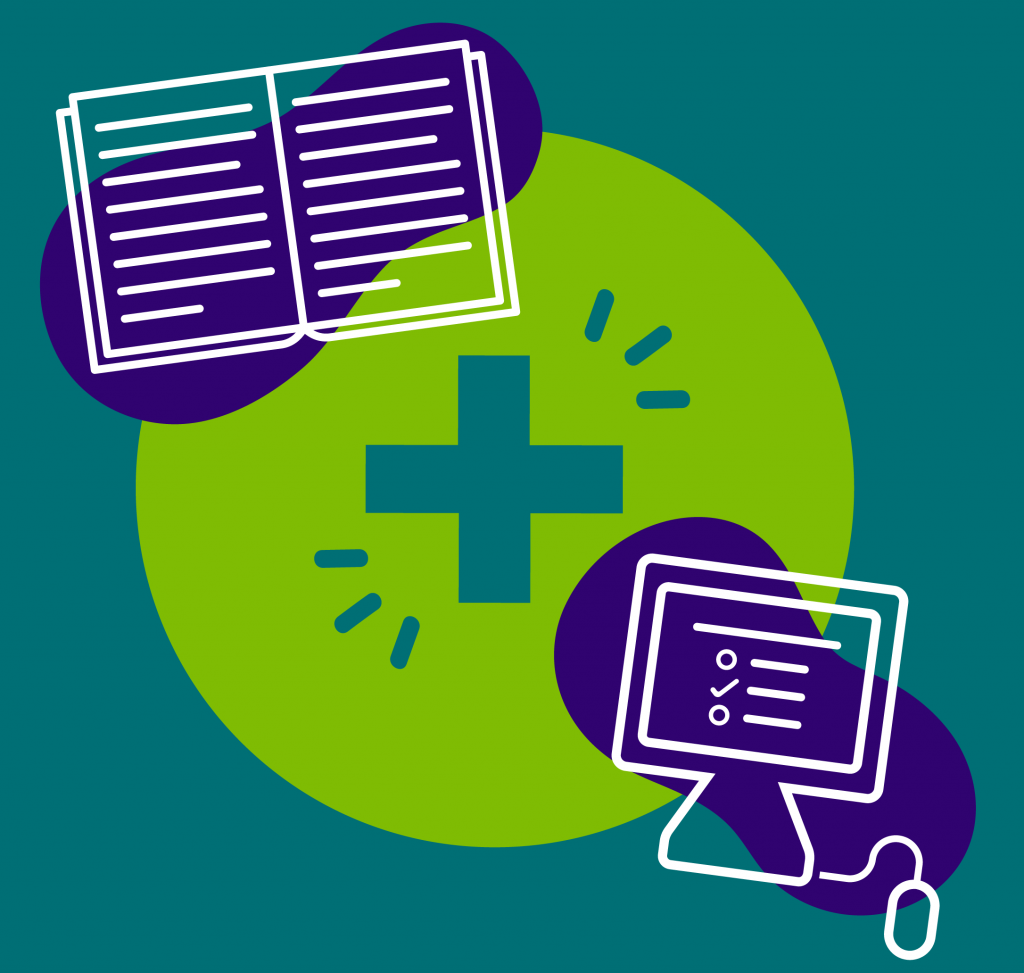 Blended Learning icon - paper booklet and computer online curriculum